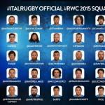 I convocati dell'Italia per la Rugby World Cup 2015