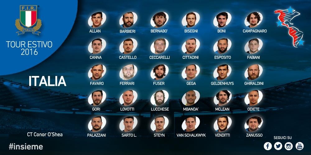 Convocati italia rugby true americhe 2016