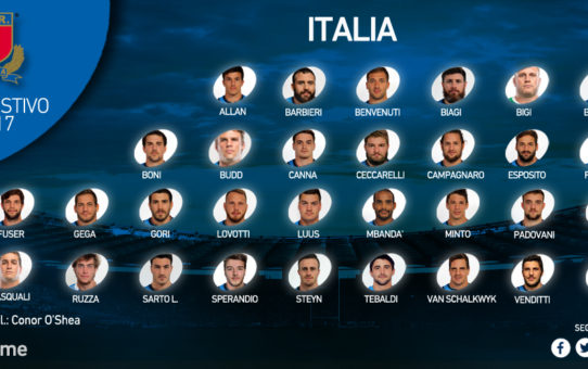 I 31 dell'Italia del rugby per il tour estivo 2017