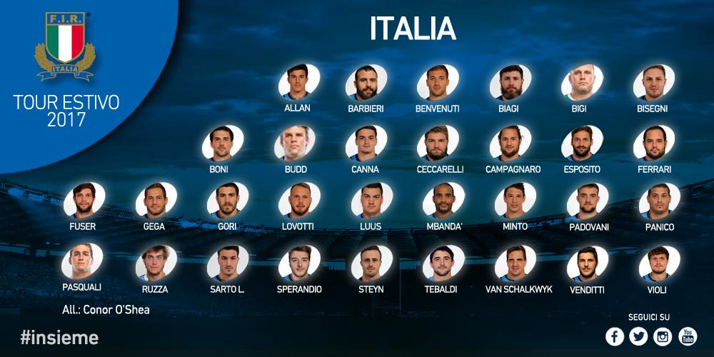 italia rugby tour estivo 2017
