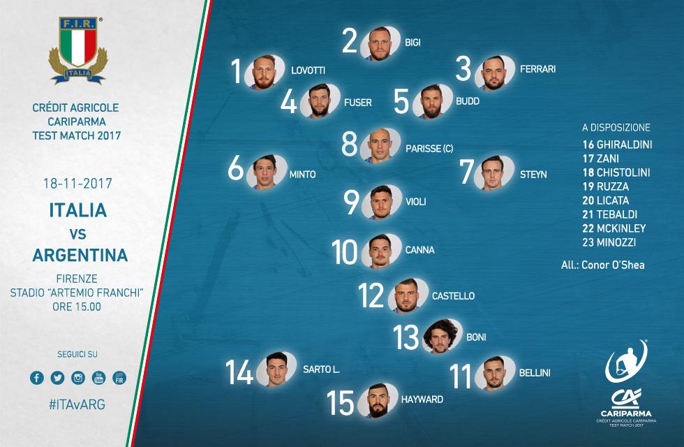 test match novembre 2017 italia-argentina